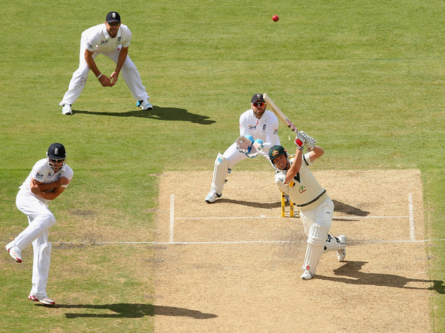 George Bailey of Australia hits a six during day one of the Second Ashes Test Match between Australia and England at Adelaide Oval on December 5, 2013