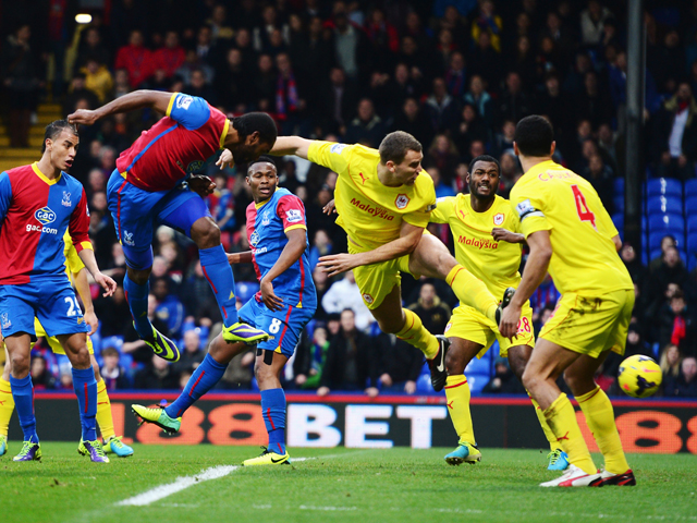 Cameron Jerome of Crystal Palace scores with his head during the Barclays Premier League match between Crystal Palace and Cardiff City at Selhurst Park on December 07, 2013