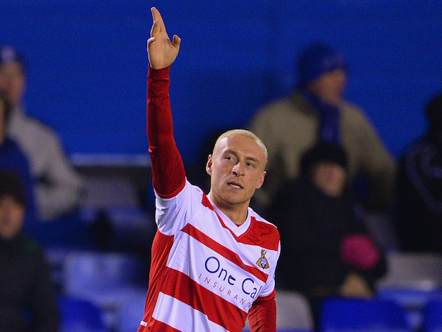 David Cotterill of Doncaster celebrates scoring to make it 1-1 during the Sky Bet Championship match between Birmingham City and Doncaster Rovers on December 3, 2013