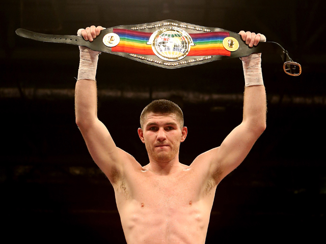 Liam Smith celebrates his victory over Steve O'Meara during their Vacant Commonwealth Light Middleweight Championship bout at ExCel on December 15, 2012