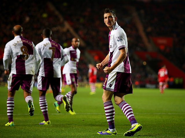 Aston Villa's Libor Kozak celebrates after scoring his team's second goal against Southampton during their Premier League match on December 4, 2013