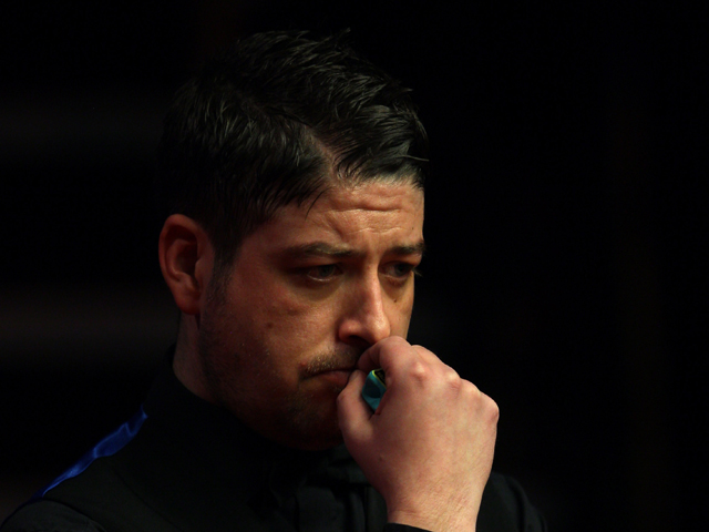 Matthew Stevens of Wales in action during his semi final match against Ronnie O'Sullivan of England during the Betfred.com World Championship at Crucible Theatre on May 5, 2012