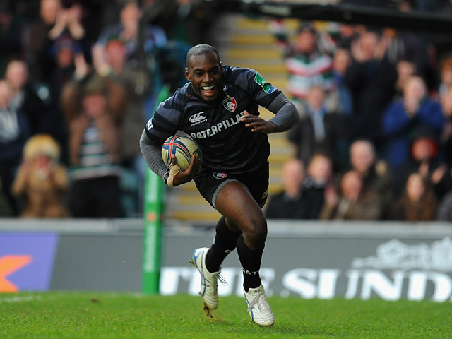 Leicester Tigers' Miles Benjamin runs in to score a try against Montpellier during their Heineken Cup match on December 8, 2013