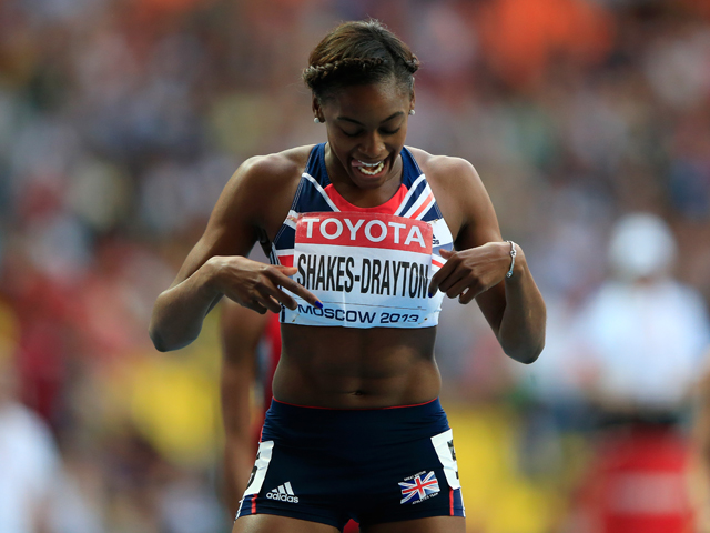 Perri Shakes-Drayton of Great Britain competes in the Women's 400 metres hurdles final during Day Six of the 14th IAAF World Athletics Championships Moscow 2013 at Luzhniki Stadium on August 15, 2013