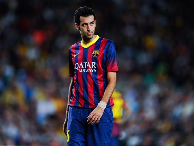 Sergio Busquets of FC Barcelona looks on during the La Liga match between FC Barcelona and Sevilla FC at Camp Nou on September 14, 2013