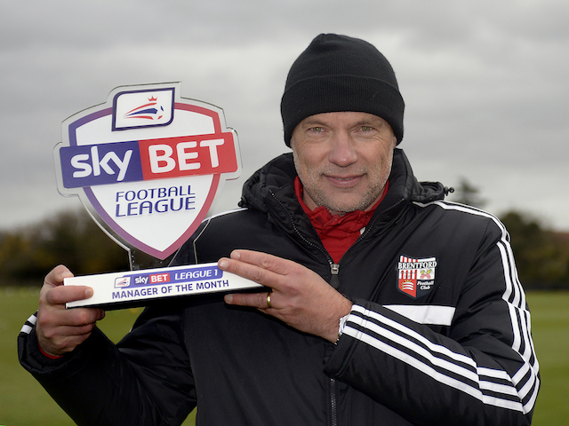 Brentford manager Uwe Rosler with his November Manager of the Month award for November on December 5, 2013