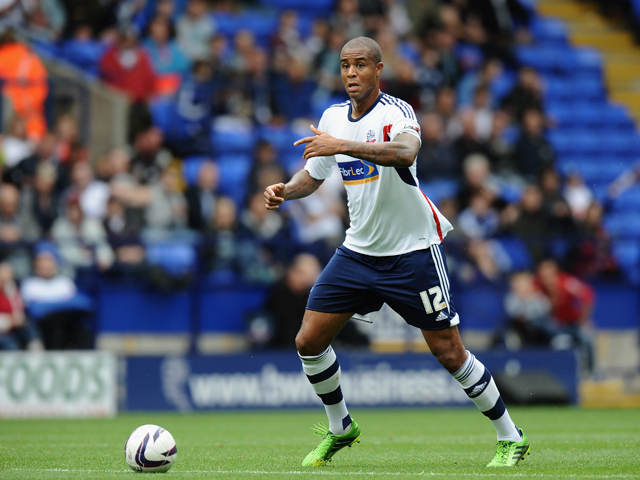Zat Knight of Bolton Wanderers during the Sky Bet Championship match between Bolton Wanderers and Queens Park Rangers at Reebok Stadium on August 24, 2013