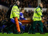 Gerard Deulofeu of Everton is stretchered off during the Barclays Premier League match between Everton and Fulham at Goodison Park on December 14, 2013