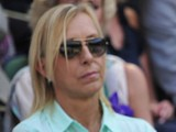 Martina Navratilova watches the Ladies Singles Final at Wimbledon on July 6, 2013