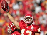 Thomas Gafford of the Kansas City Chiefs celebrates after recovering a fumble during the game against the Jacksonville Jaguars on October 24, 2010