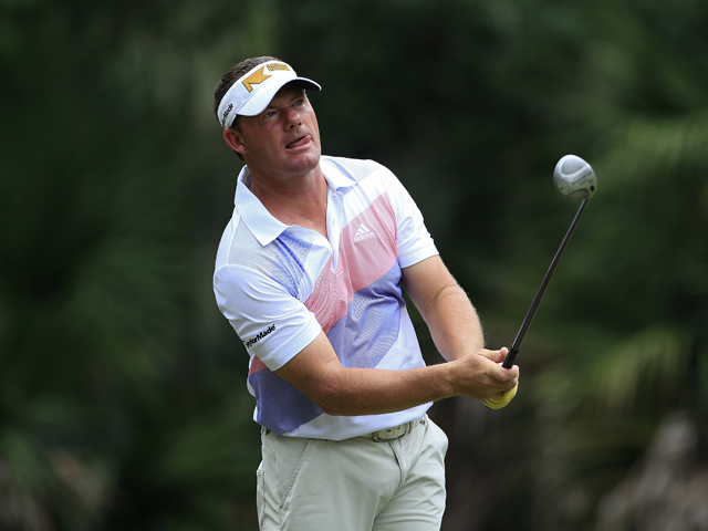 Alex Cejka of Germany hits a drive during the first round of the Web.com Tour Championship held on the Dye's Valley Course at TPC Sawgrass on September 26, 2013