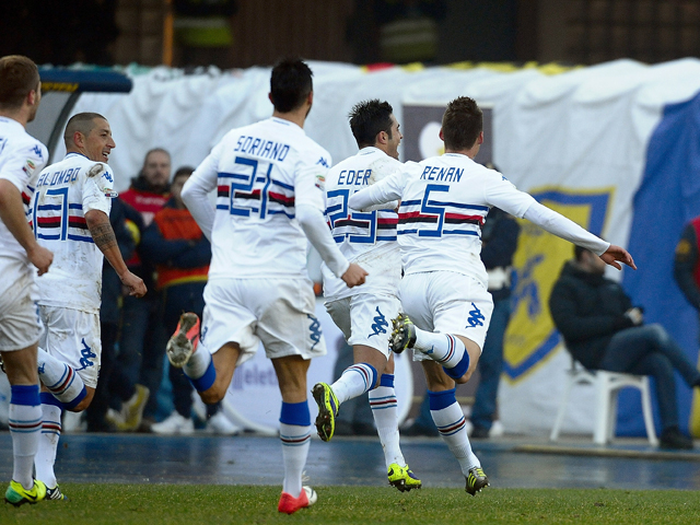 Marins Citadin Eder # 23 of UC Sampdorioa celebrates after scoring a goal during the Seria A match between AC Chievo Verona and UC Sampdoria at Stadio Marc'Antonio Bentegodi on December 15, 2013