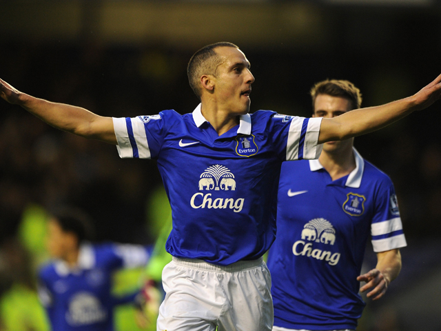 Leon Osman of Everton celebrates scoring the opening goal during the Barclays Premier League match between Everton and Fulham at Goodison Park on December 14, 2013
