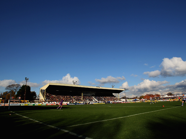 A general view of Southport football clubs ground Haig Avenue during the FA Cup sponsored by E.ON first Round match between Southport and Sheffield Wednesday at Haig Avenue on November 7, 2010