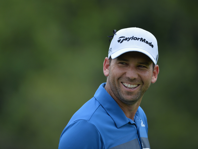 Sergio Garcia of Spain looks happy during the final round of the Nedbank Golf Challenge at Gary Player CC on December 8, 2013
