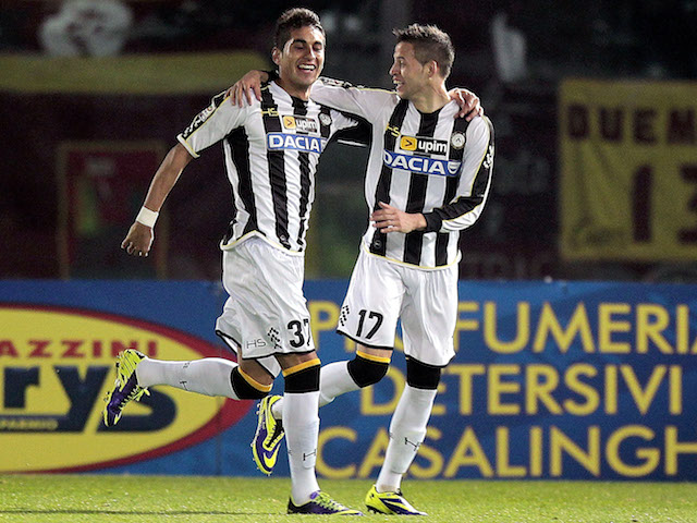 Alonso Nico Lopez of Udinese Calcio celebrates after scoring a goal during the Serie A match between AS Livorno Calcio and Udinese Calcio on December 21, 2013