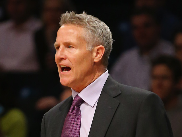 Coach Brett Brown of the Philadelphia 76er in action against the Brooklyn Nets during their game at the Barclays Center on December 16, 2013