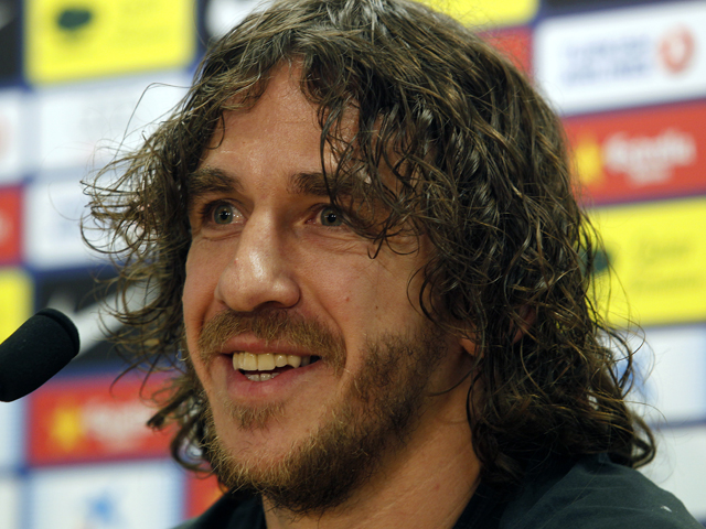 Barcelona's captain Carles Puyol gives a press conference in Barcelona on May 31, 2013