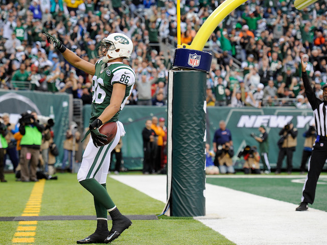 Wide receiver David Nelson of the New York Jets celebrates his touchdown catch during the first half against the Cleveland Browns at MetLife Stadium on December 22, 2013