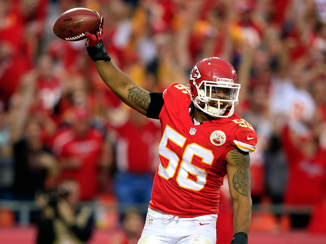 Derrick Johnson #56 of the Kansas City Chiefs in action against Houston Texans on October 20, 2013