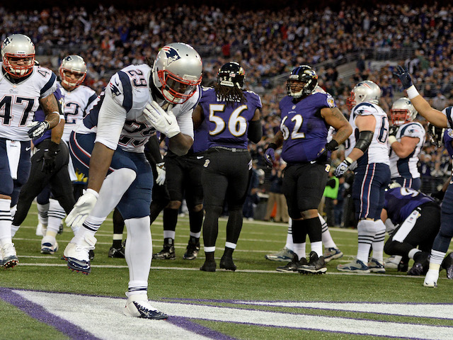 Running back LeGarrette Blount of the New England Patriots celebrates after scoring a touchdown against the Baltimore Ravens on December 22, 2013
