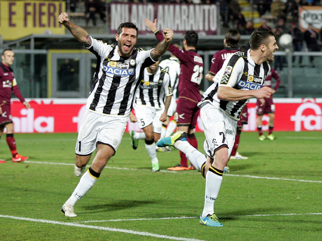 Thomas Heurtaux of Udinese Calcio celebrates after scoring a goal during the Serie A match between AS Livorno Calcio and Udinese Calcio at Stadio Armando Picchi on December 22, 2013