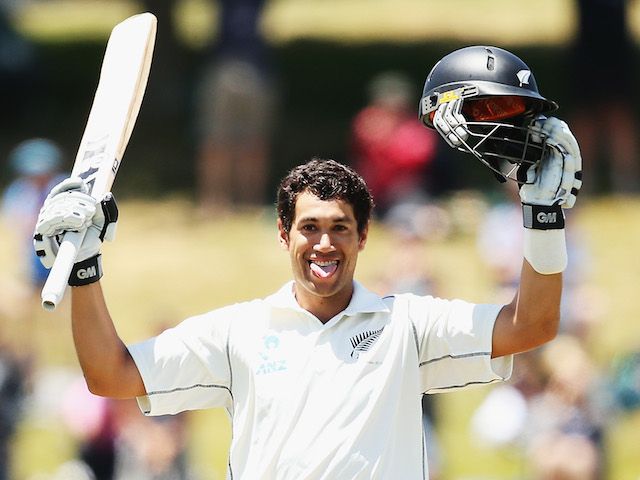 Ross Taylor of New Zealand celebrates after scoring a century during day three of the Third Test match between New Zealand and the West Indies at Seddon Park on December 21, 2013