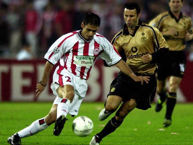 Ryan Giggs in action for Manchester United against Olympiacos on October 10, 2001.