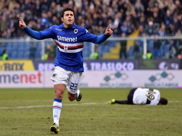 Eder of Sampdoria celebrates after scoring the opening goal during the Serie A match between UC Sampdoria and Parma FC at Stadio Luigi Ferraris on December 22, 2013