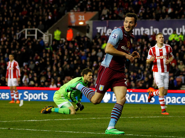 Libor Kozak of Aston Villa celebrates his goal during the Barclays Premier League match between Stoke City and Aston Villa at the Britannia Stadium on December 21, 2013