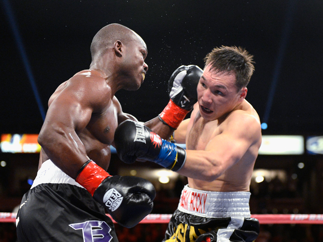 WBO Welterweight Champion Timothy Bradley lands a punch against contender Ruslan Provodnikov during their WBO Welterweight Championship boxing match at The Home Depot Center on March 16, 2013