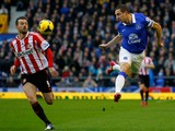 Phil Jagielka of Everton in action with Steven Fletcher of Sunderland during the Barclays Premier League match between Everton and Sunderland at Goodison Park on December 26, 2013