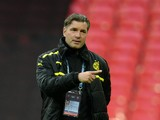 Former Borussia Dortmund player Michael Zorc takes part in a training session at Wembley Stadium in London on May 24, 2013