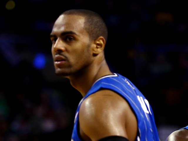 Arron Afflalo of the Orlando Magic in action against the Boston Celtics during a game at the TD Garden on November 11, 2013
