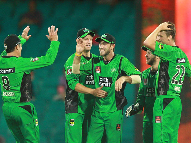 Melbourne Stars' Glenn Maxwell celebrates the wicket of Sydney Sixers' Jordan Silk during their Big Bash League match on December 29, 2013