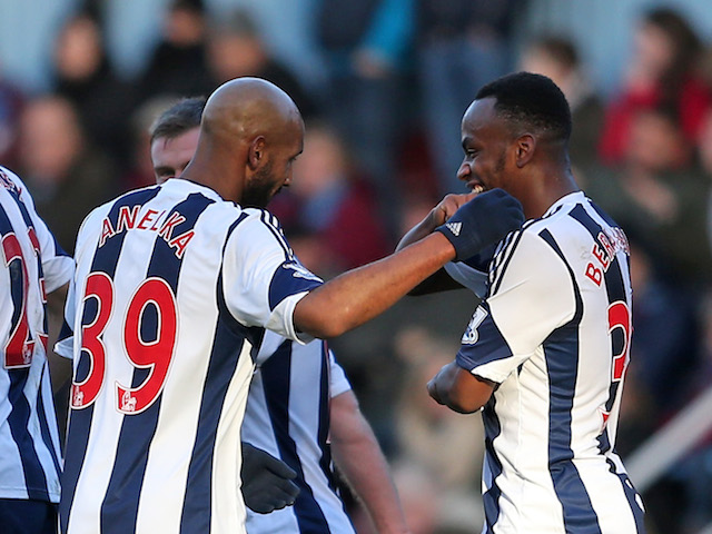 Nicolas Anelka of West Brom celebrates scoring their first goal with Saido Berahino of West Brom during the Barclays Premier League match against West Ham United on December 28, 2013