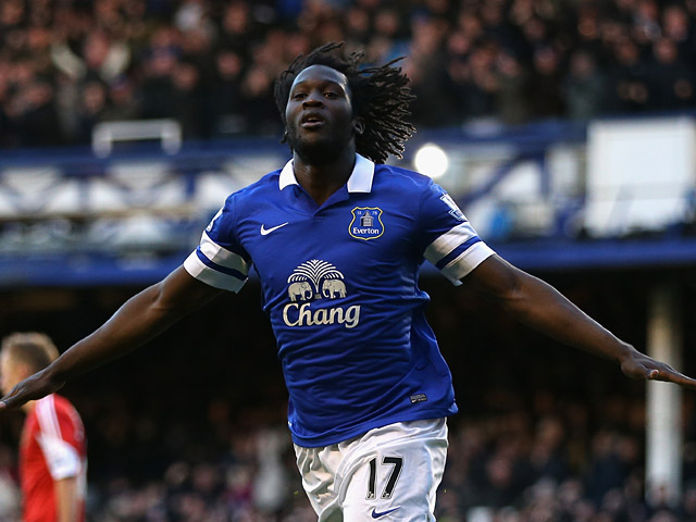 Everton's Romelu Lukaku celebrates after scoring his team's second goal against Southampton during their Premier League match on December 29, 2013