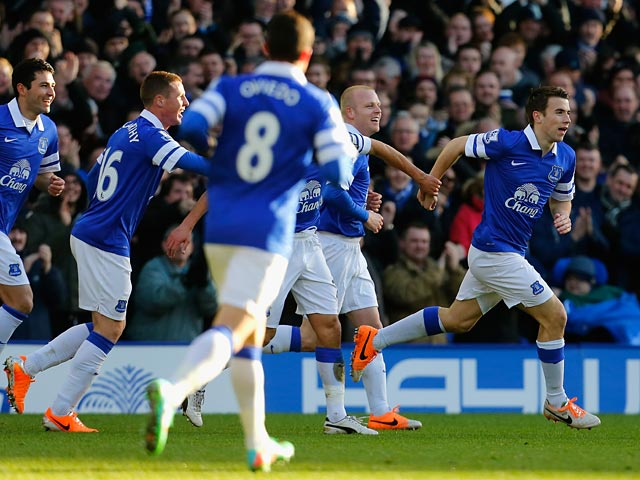 Everton's Seamus Coleman is congratulated by teammates after scoring the opening goal against Southampton during their Premier League match on December 29, 2013