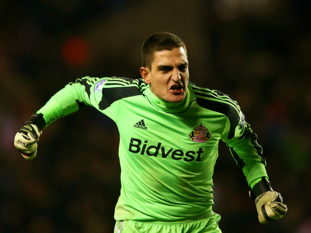 Vito Mannone of Sunderland celebrates victory during the Capital One Cup Quarter-Final match between Sunderland and Chelsea at Stadium of Light on December 17, 2013