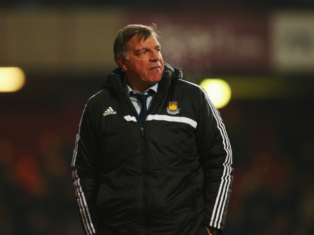 Sam Allardyce manager of West Ham United looks on during the Barclays Premier League match between West Ham United and Arsenal at Boleyn Ground on December 26, 2013