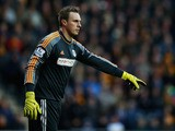 David Stockdale of Fulham in action during the Barclays Premier League match between Hull City and Fulham at KC Stadium on December 28, 2013