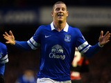 Everton's Ross Barkley celebrates aft