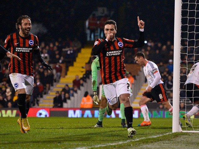 Adrian Colunga of Brighton celebrates scoring the first goal during the Sky Bet Championship match between Fulham and Brighton & Hove Albion at Craven Cottage on December 29, 2014