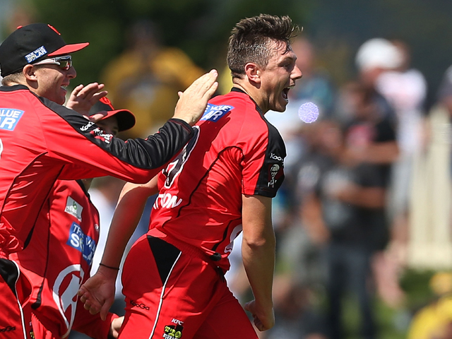 James Pattinson of the Renegades celebrates taking the wicket of Shoaib Malik of the Hurricanes during the Big Bash League match between the Hobart Hurricanes and the Melbourne Renegades at Blundstone Arena on January 1, 2014
