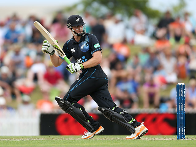 New Zealand's Martin Guptill in action against West Indies during their One Day International match on January 4, 2013