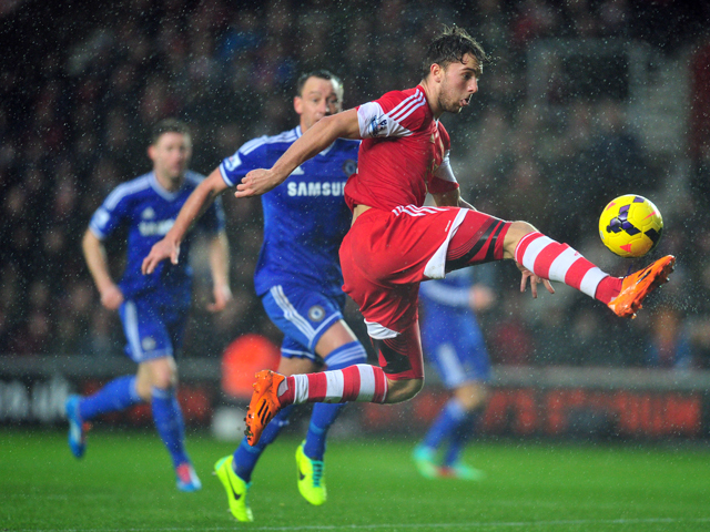 Southampton's English striker Jay Rodriguez controls the ball as Chelsea's English defender John Terry chases during the English Premier League football match between Southampton and Chelsea at St Mary's Stadium in Southampton, southern England, on Januar