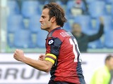 Alberto Gilardino of Genoa CFC celebrates the opening goal during the Serie A match between Genoa CFC and US Sassuolo Calcio at Stadio Luigi Ferraris on January 6, 2014