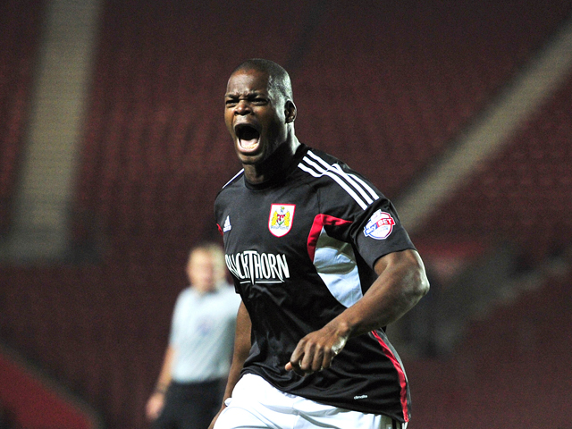 Bristol City's English striker Marlon Harewood complains to the linesman during the League Cup football match between Southampton and Bristol City at St Mary's Stadium in Southampton, southern England, on September 24, 2013