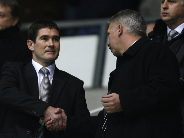 Nigel Clough attends his first game as Derby County manager on January 07, 2009.