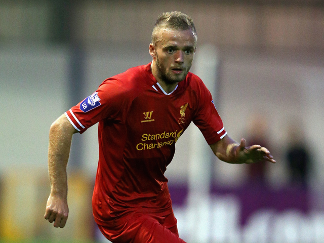 Ryan Mclaughlin of Liverpool U21 in action during the Barclays U21s Premier League match between Manchester City U21 and Liverpool U21 at Ewen Fields on September 23, 2013